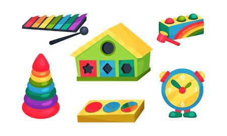 Illustration pour Children Educational Toy Vector Set. Learning Abc Concept - image libre de droit