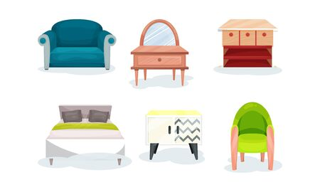 Illustration pour Set of modern furniture for design of bedroom. Light modern style. Sofa, double bed, armchair, mirror with table and chest of drawers. Vector illustration, isolated on white background. - image libre de droit
