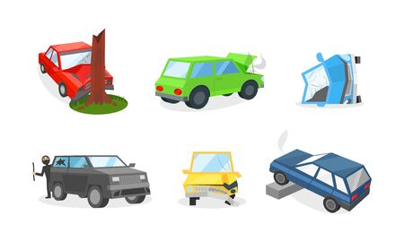 Illustration pour Cars damages and insurance cases on the road. The engine overheated, a red sedan crashed into a tree, a broken bumper, burglar broke a vehicle window, car rolled over on its side or drove into a curb - image libre de droit