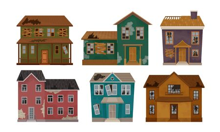 Illustration pour Old Abandoned Houses Collection, Facades of One Storey and Two Storey Buildings with Broken Windows and Roof Vector Illustration - image libre de droit