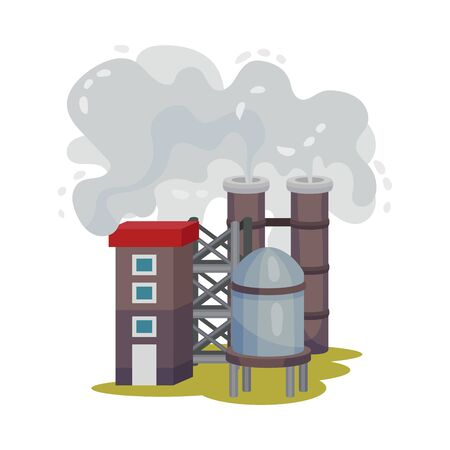 Illustration pour Plants Smoke Polluting Environment Vector Illustration. Industrial Smog and Factory Smoke Clouds. Toxic Factories Fumes Emission Concept - image libre de droit