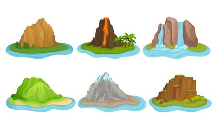 Illustration for Flying Mountain Islands for Game Interface Vector Set - Royalty Free Image