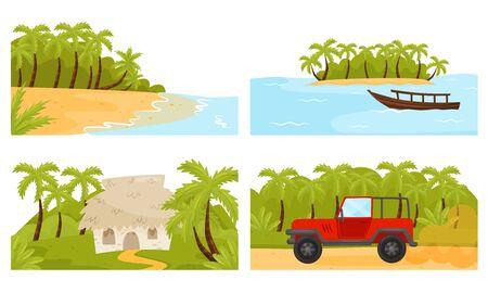 Illustration pour Tropical Island Scenic Illustrations with Palm Trees and Hut Vector Set - image libre de droit