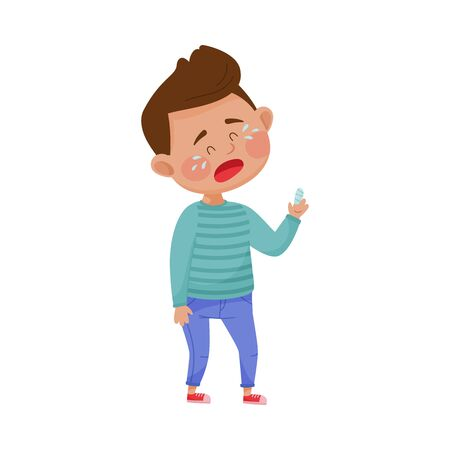 Illustration pour Little Boy Standing with Bandaged Finger and Crying Because of Pain Vector Illustration - image libre de droit