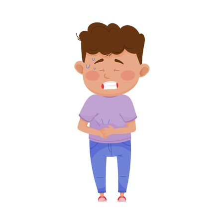 Illustration pour Little Boy Standing with His Hands on His Stomach Because of Pain Vector Illustration - image libre de droit