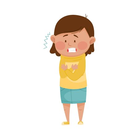 Illustration pour Little Girl Standing and Shivering Because of Cold Fit Vector Illustration - image libre de droit