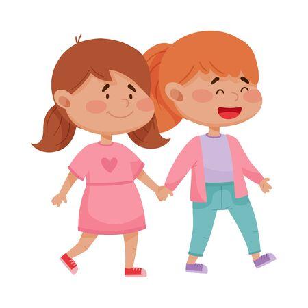 Illustration pour Little Red Cheeked Girls Holding Hands Vector Illustration - image libre de droit