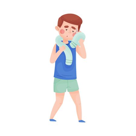 Illustration pour Boy Mopping His Forehead with Towel From Sweat Because of Hot Weather Vector Illustration. High Summer Temperatures and People Suffering From It Concept - image libre de droit