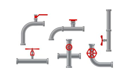 Illustration pour Pipe Fitting or Adapters with Valves Isolated on White Background Vector Set. Piping and Plumbing Fitting for Regulating Fluid Flow Concept - image libre de droit