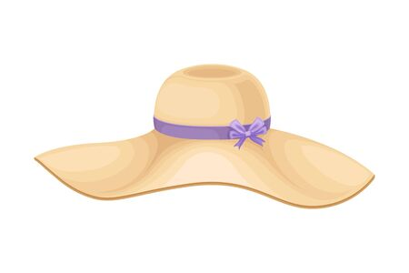 Illustration for Female Hat with Wide Brim and Ribbon with Bow Vector Illustration - Royalty Free Image