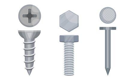 Illustration pour Metal Screws with Steel Bolts and Nails Vector Set - image libre de droit