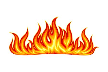 Bright Fire Blaze Isolated on White Background Vector Illustration