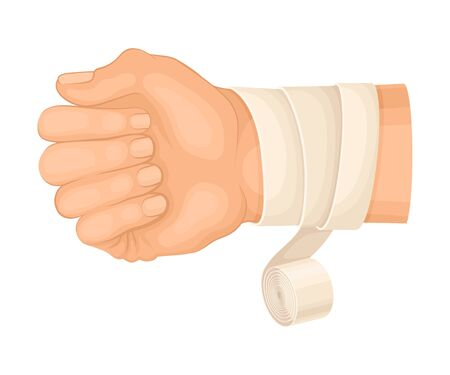 Illustration pour Bandaged Wrist Because of Injury or Wound Vector Illustration - image libre de droit