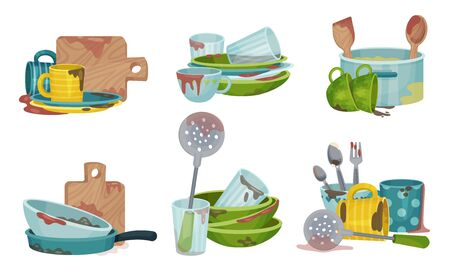 Illustration for Stack of Dirty Kitchen Utensil and Dinnerware with Plates and Spoons Vector Set - Royalty Free Image