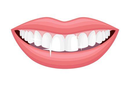 Ilustración de Smiling Mouth Showing White Healthy Teeth Vector Illustration - Imagen libre de derechos