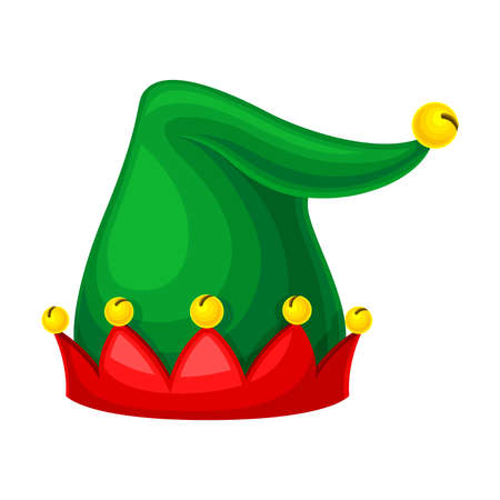 Illustration for Jester Green Hat with Yellow Jingle Bells Illustration - Royalty Free Image