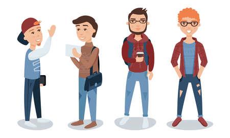 Illustration pour Male Students  Illustration Set - image libre de droit
