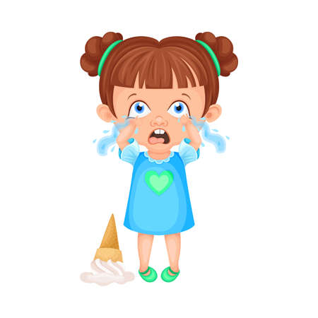 Girl Character Crying Because of Fallen Ice Cream Vector Illustration