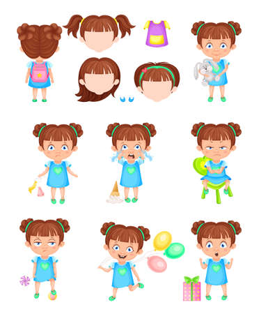Girl Character Feeling Sadness and Happiness Vector Set