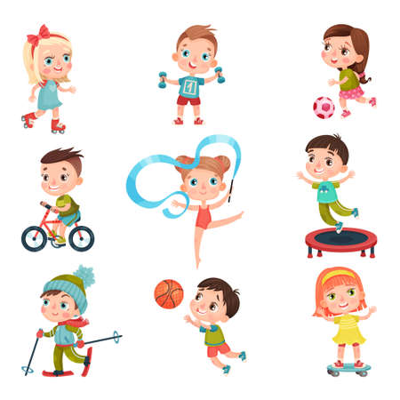 Illustration for Cute Kid Characters Doing Sport Vector Illustration Set - Royalty Free Image