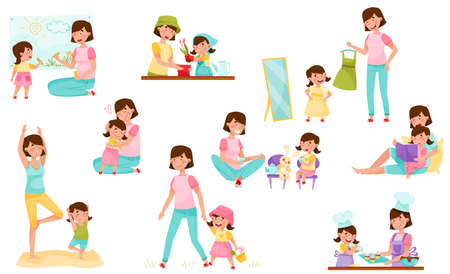 Illustration for Mom and Daughter Doing Yoga, Baking, Reading Book and Walking Vector Illustration Set - Royalty Free Image