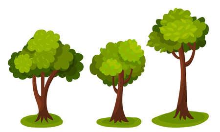 Illustration pour Tree with Exuberant Green Foliage and Trunk Vector Illustration - image libre de droit