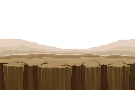 Illustration for Game Platform with Uneven Terrain and Environment Vector Illustration - Royalty Free Image