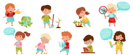 Illustration for Kid Characters Gathering Plastic Bottles and Planting Vector Set - Royalty Free Image