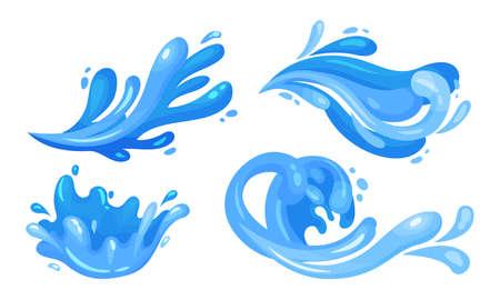 Illustration pour Blue Curved Water Splashes with Drops Vector Set - image libre de droit