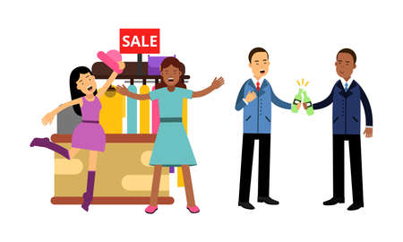 Illustration pour Woman and Man Doing Shopping and Drinking Beer Vector Illustration Set - image libre de droit