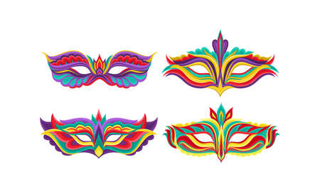Illustration for Masquerade Masks or Carnival Masque with Colorful Ornate Vector Set - Royalty Free Image