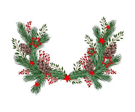 Illustration pour Coniferous Branches Arranged with Berry Twigs and Fir Cones Semicircular Vector Illustration - image libre de droit