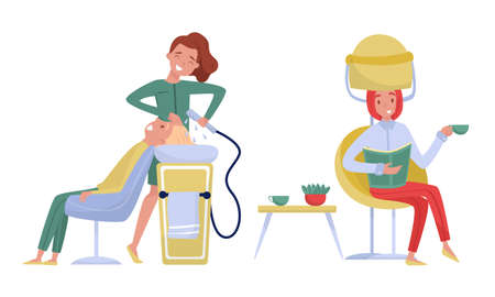 Illustration pour Young Woman in Beauty Salon Washing and Drying Hair Vector Illustration Set - image libre de droit