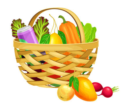 Illustration pour Wicker Basket Full of Food and Products from Grocery Market Vector Illustration - image libre de droit