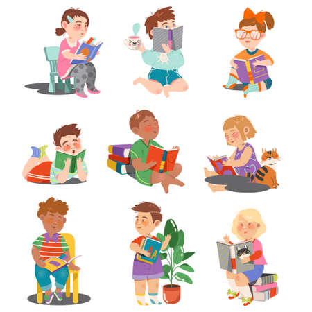 Illustration for Interested Kids Sitting with Open Book and Reading Vector Set - Royalty Free Image