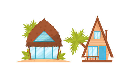 Illustration pour Summer Beach Houses Rested on Sand with Palm Trees Around Vector Set - image libre de droit