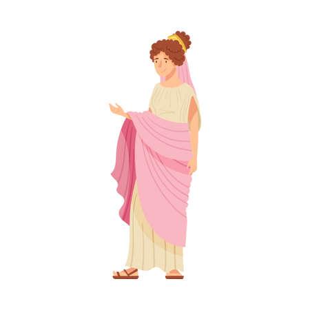 Illustration pour Young Female as Roman Empress in Long Dress Wearing Crown Vector Illustration - image libre de droit