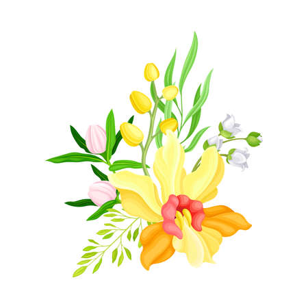 Illustration pour Yellow Orchid Bloom with Labellum and Floral Branches Vector Illustration - image libre de droit