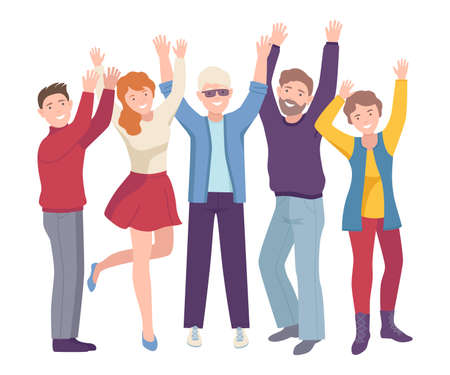 Illustration pour Group of Joyful People Characters Up with Hands Cheering About Something Vector Illustration - image libre de droit