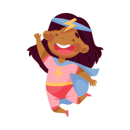 Illustration pour Cheerful African American Girl Wearing Costume of Superhero Jumping High Pretending Having Power for Fighting Crime Vector Illustration - image libre de droit