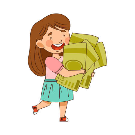 Illustration for Little Girl Carrying Pile of Dollar Banknotes Vector Illustration - Royalty Free Image