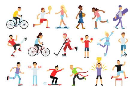 Illustration pour Young Energetic Man and Woman Doing Sport Activity Vector Illustration Set - image libre de droit