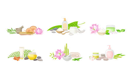Illustration pour Spa Treatment Composition with Bamboo, Essential Oil and Stones for Energy Body Massage Vector Set - image libre de droit