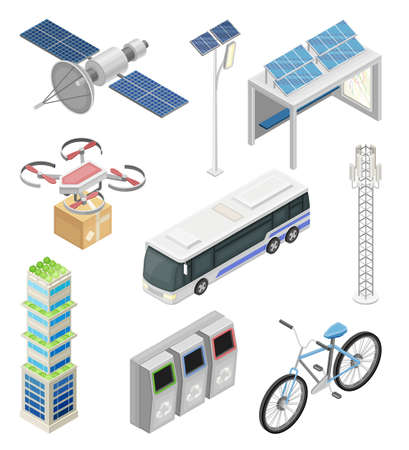 Illustration pour Smart City with Solar Panel, Recycling Bin and Drone Delivering Parcel Isometric Vector Set - image libre de droit