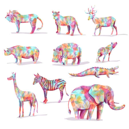 Foto de Set of wild animal vector safari in diamond shape colorful - Imagen libre de derechos