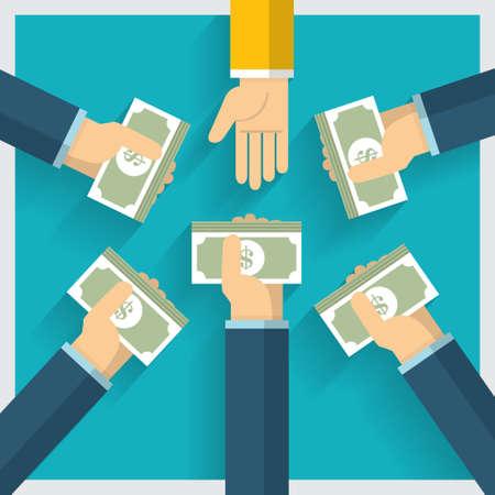 Hand vector exchange money idea and one way provide benefit