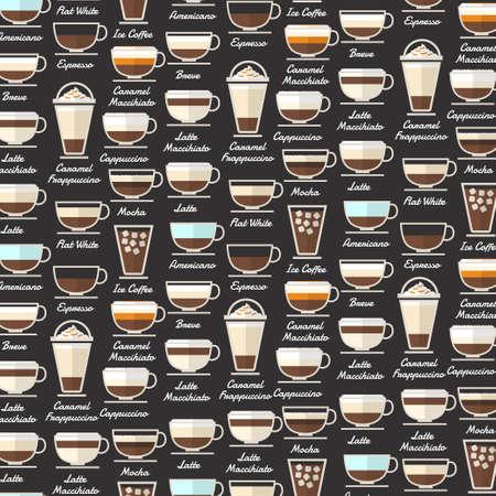 Illustration pour Coffee Type Background Pattern Vector - image libre de droit
