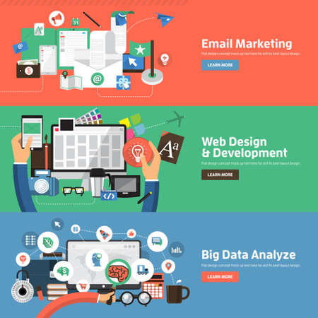 Flat design concepts for Email Marketing, Web Design Development, Big Data Analyze. Concepts for web banners and promotional materials.