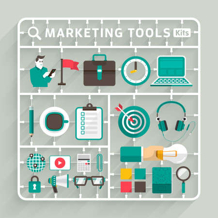 Illustration pour Vector flat design model kits for Marketing tools. Element for use to success creative thinking - image libre de droit