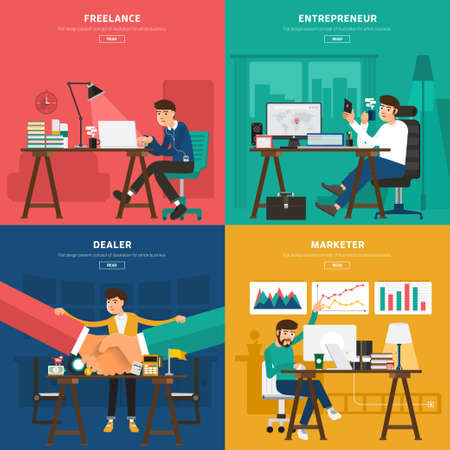 Flat design concept co working center for worker freelance, entrepreneur, dealer, and marketer. Illustrate for banner and article design